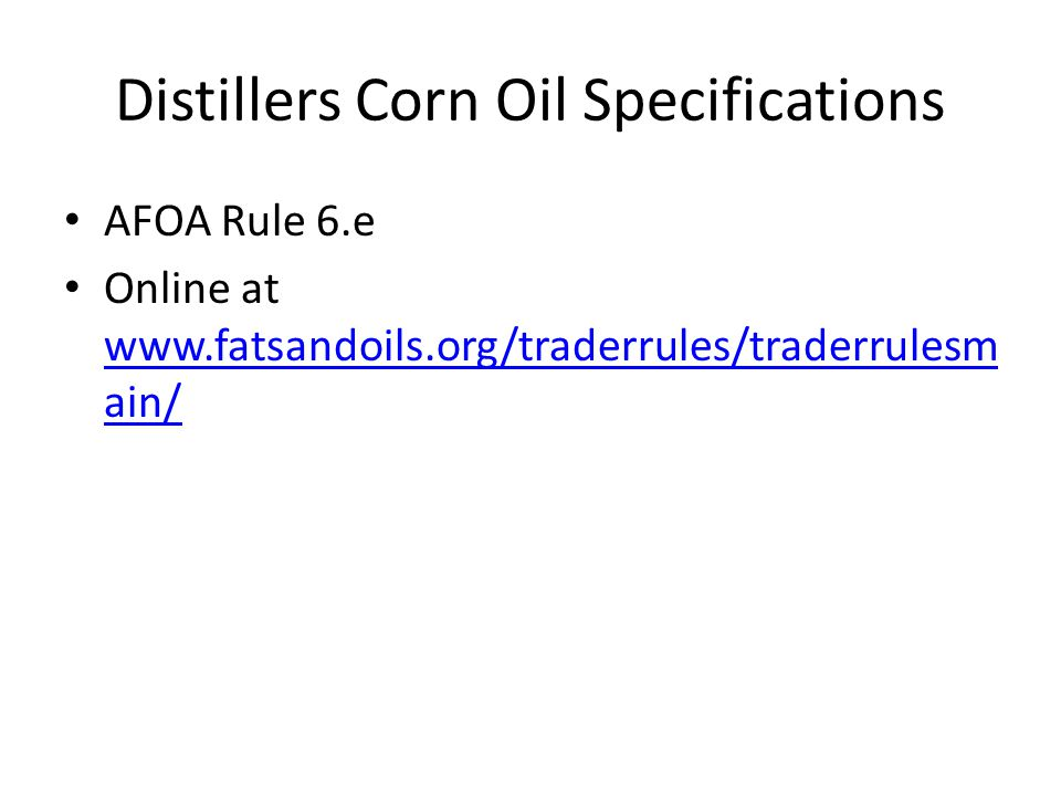 Distillers Corn Oil Specifications