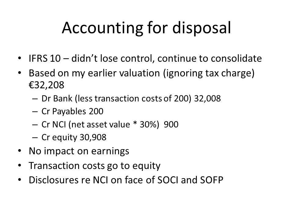 Accounting for disposal
