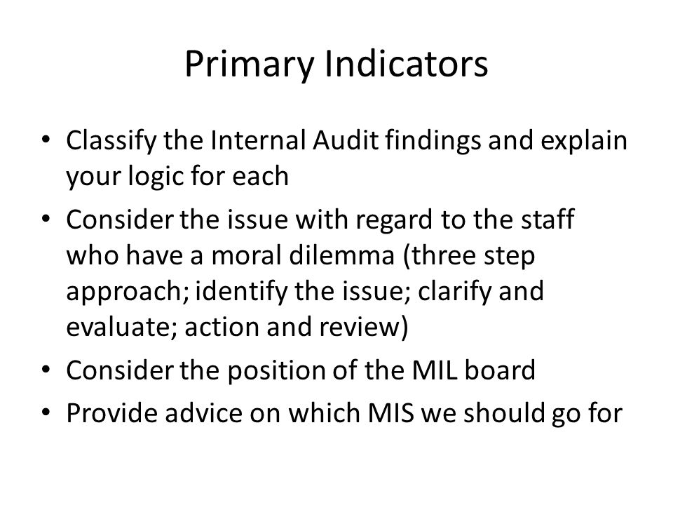 Primary Indicators Classify the Internal Audit findings and explain your logic for each.