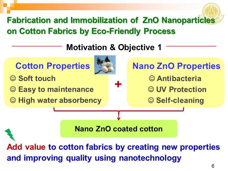 + Cotton Properties Nano ZnO Properties