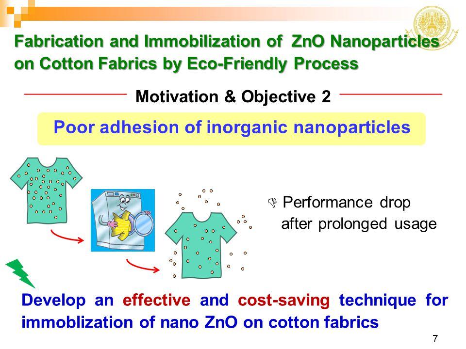Poor adhesion of inorganic nanoparticles