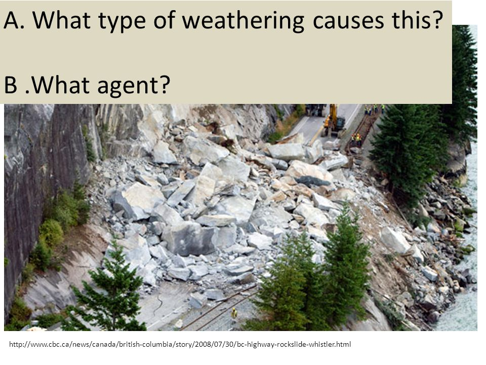 A. What type of weathering causes this B .What agent