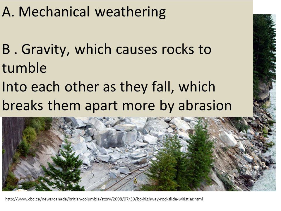 A. Mechanical weathering B . Gravity, which causes rocks to tumble