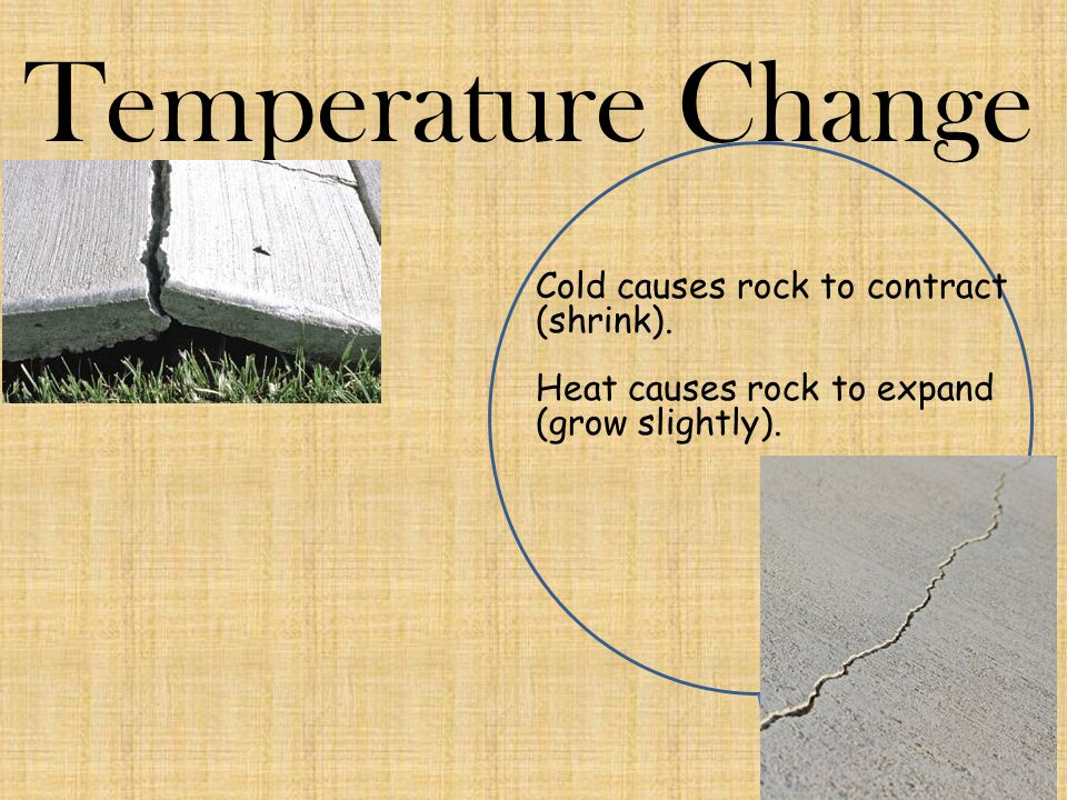 Temperature Change Cold causes rock to contract (shrink).