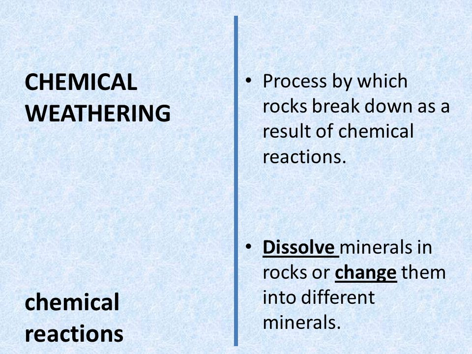 CHEMICAL WEATHERING chemical reactions