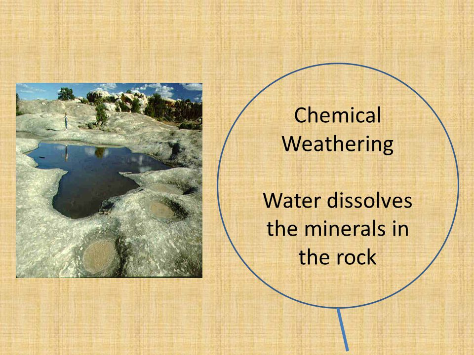 Water dissolves the minerals in the rock
