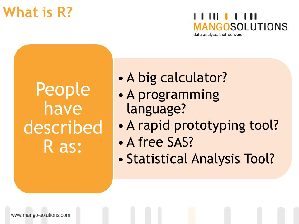 People have described R as: