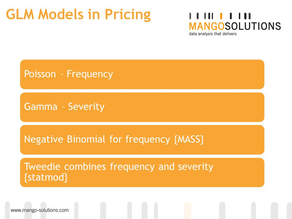 GLM Models in Pricing Poisson – Frequency Gamma – Severity