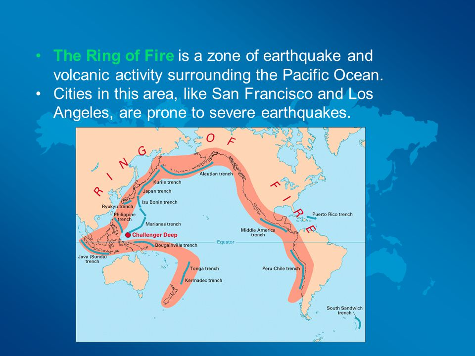The Ring of Fire is a zone of earthquake and volcanic activity surrounding the Pacific Ocean.