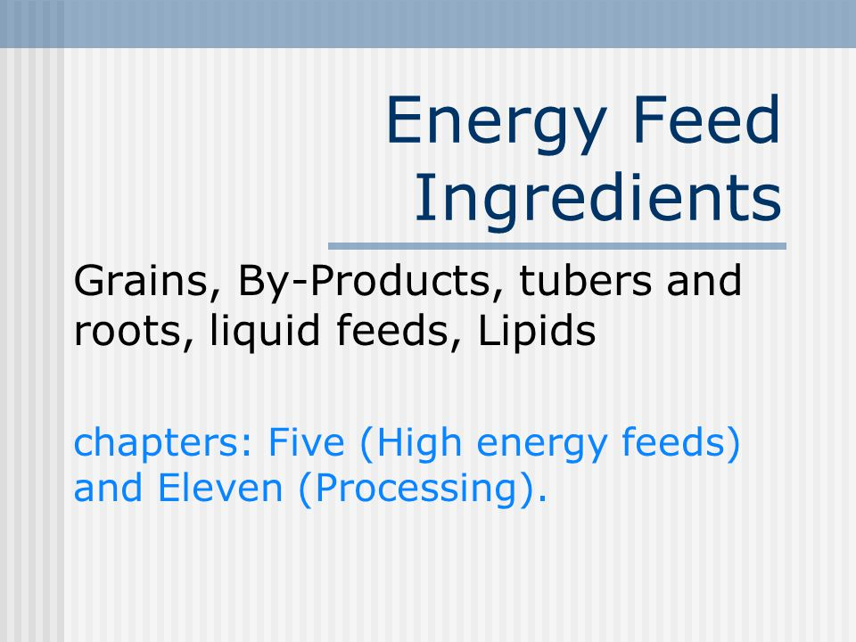 Energy Feed Ingredients