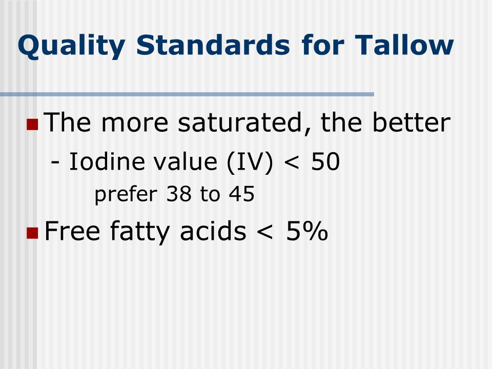 Quality Standards for Tallow