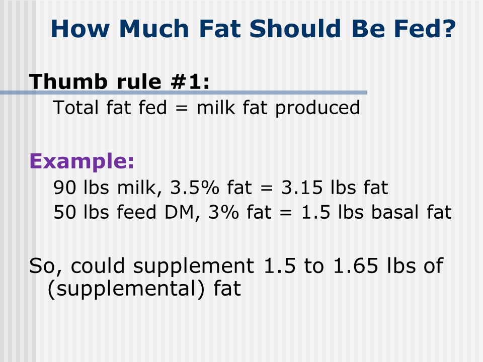 How Much Fat Should Be Fed
