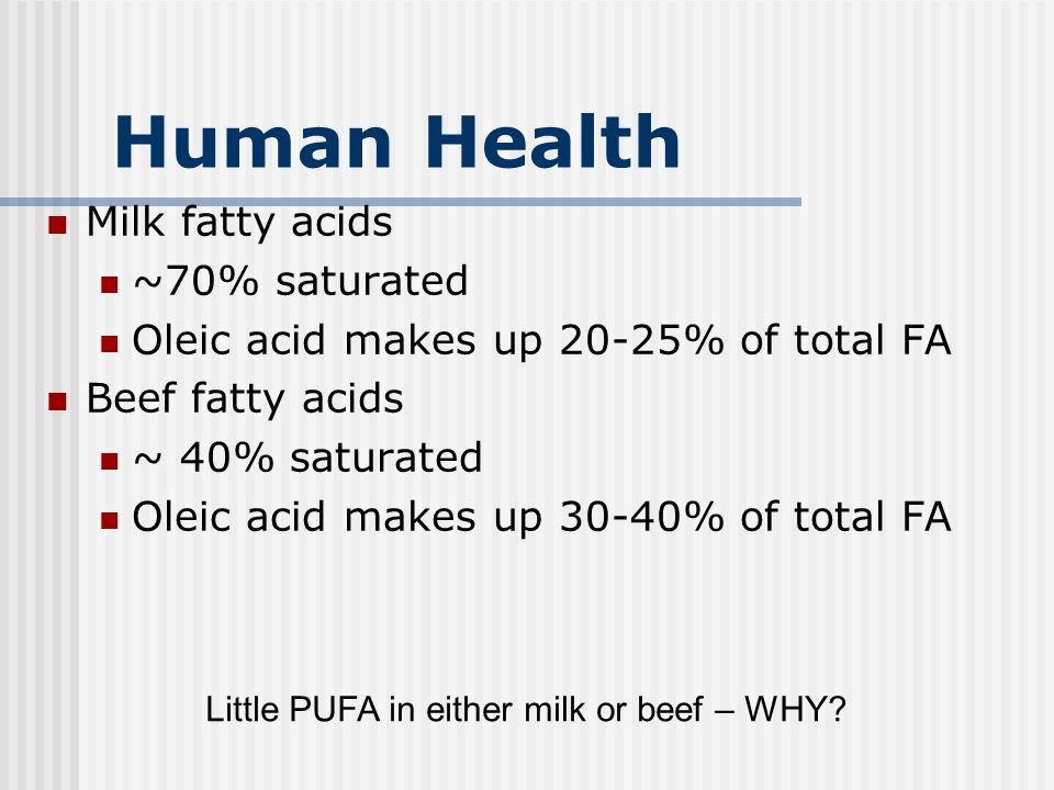 Human Health Milk fatty acids ~70% saturated