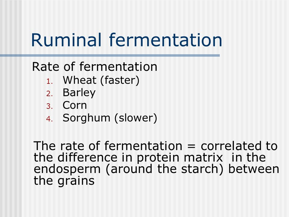 Ruminal fermentation Rate of fermentation