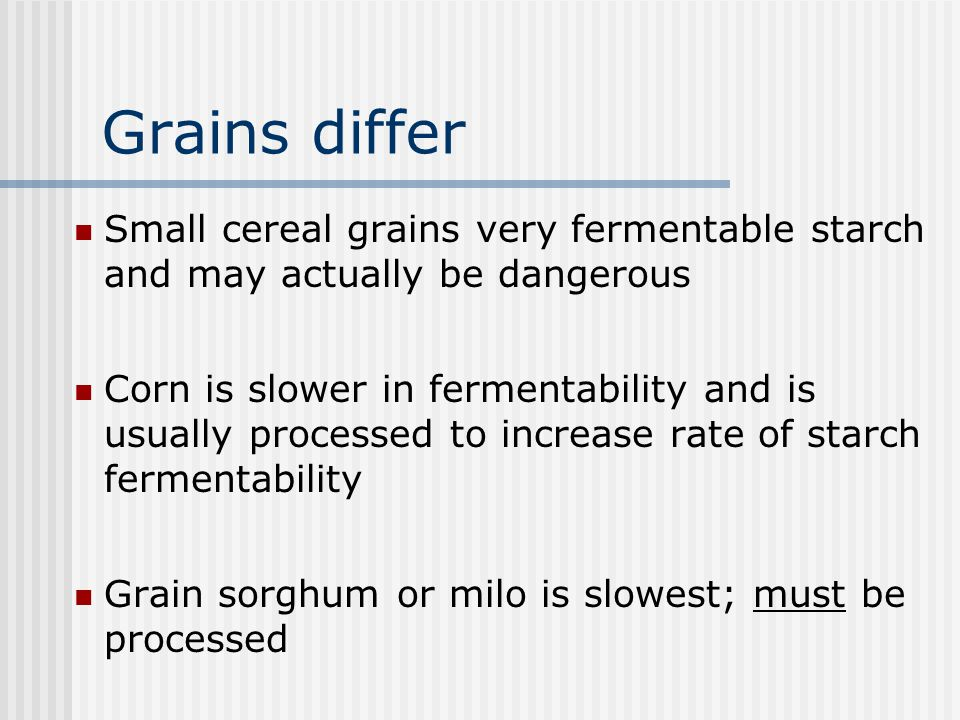 Grains differ Small cereal grains very fermentable starch and may actually be dangerous.