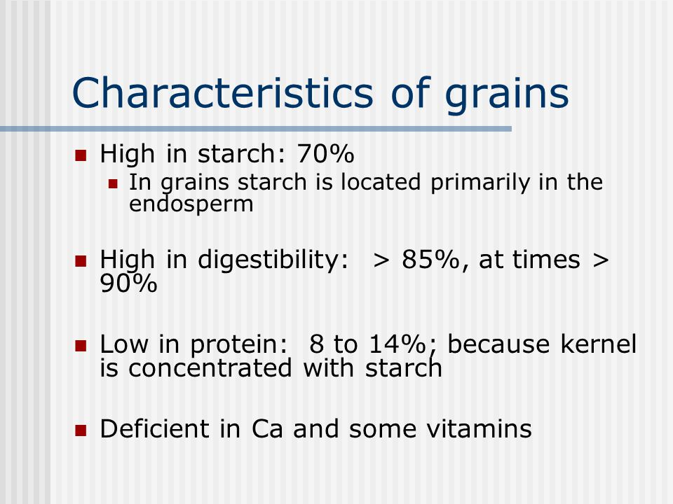 Characteristics of grains