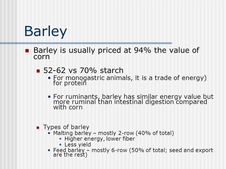 Barley Barley is usually priced at 94% the value of corn