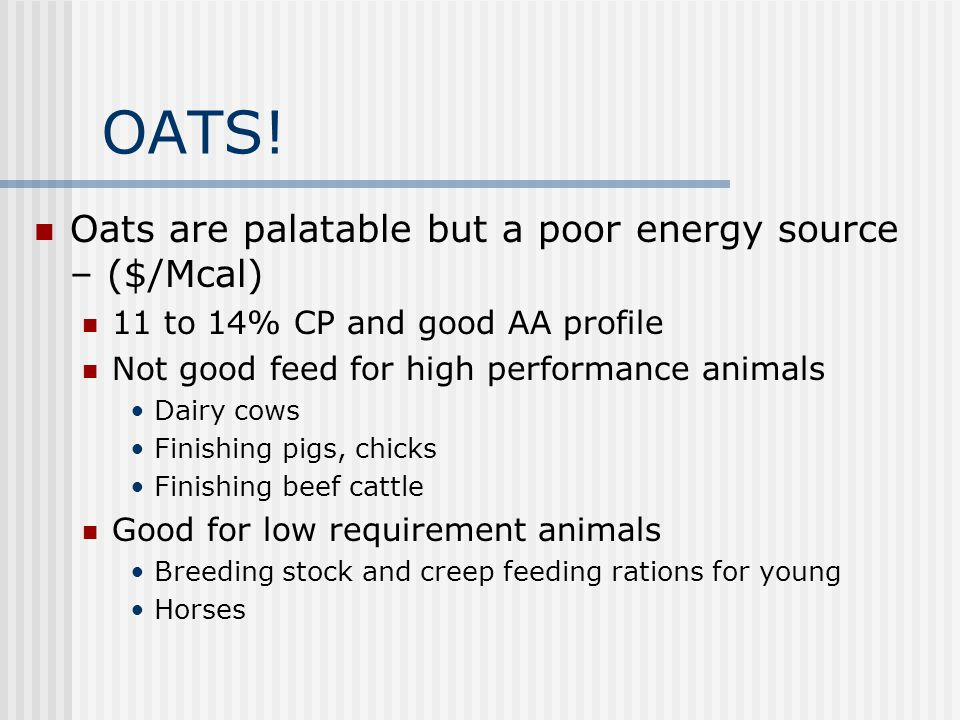 OATS! Oats are palatable but a poor energy source – ($/Mcal)