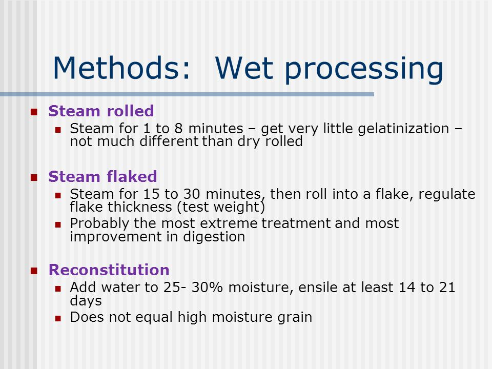 Methods: Wet processing
