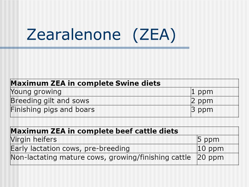 Zearalenone (ZEA) Maximum ZEA in complete Swine diets Young growing