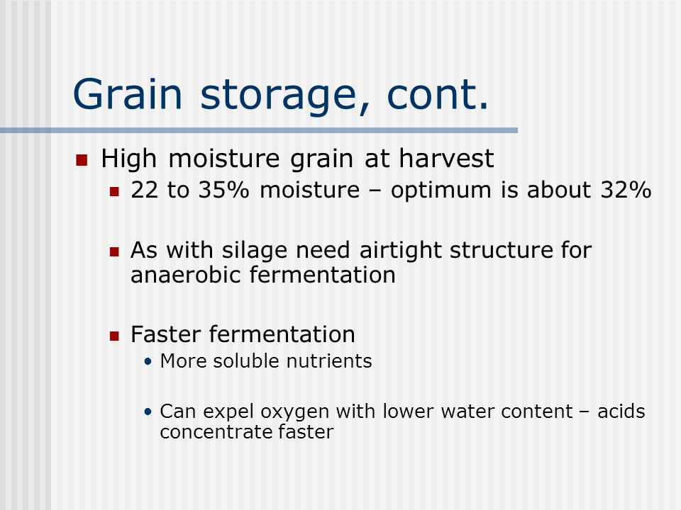 Grain storage, cont. High moisture grain at harvest