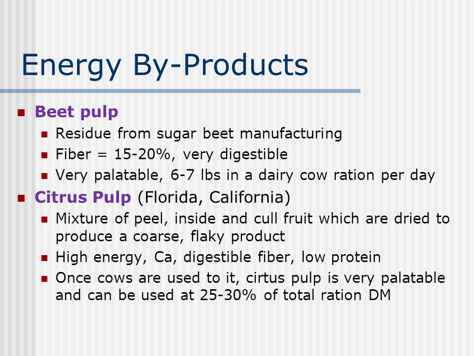 Energy By-Products Beet pulp Citrus Pulp (Florida, California)