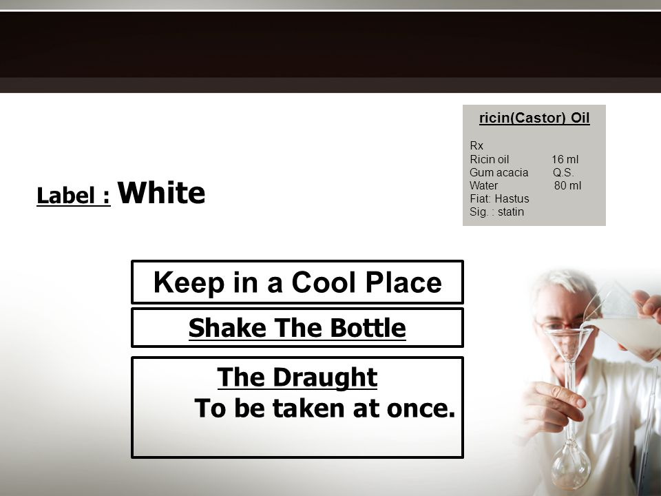 Keep in a Cool Place Shake The Bottle The Draught To be taken at once.