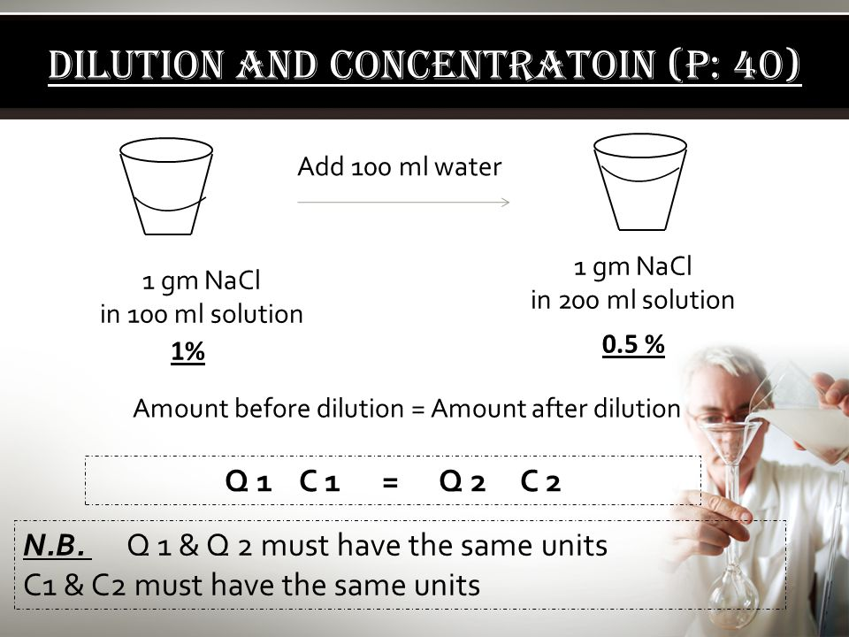 DILUTION AND CONCENTRATOIN (P: 40)