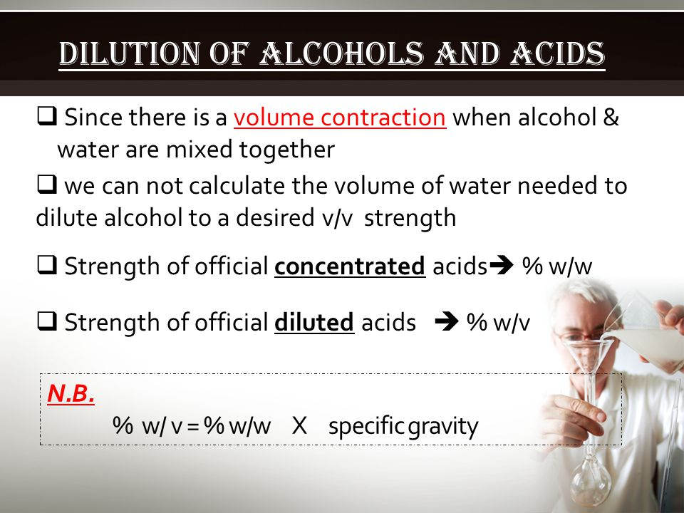 Dilution of Alcohols and acids