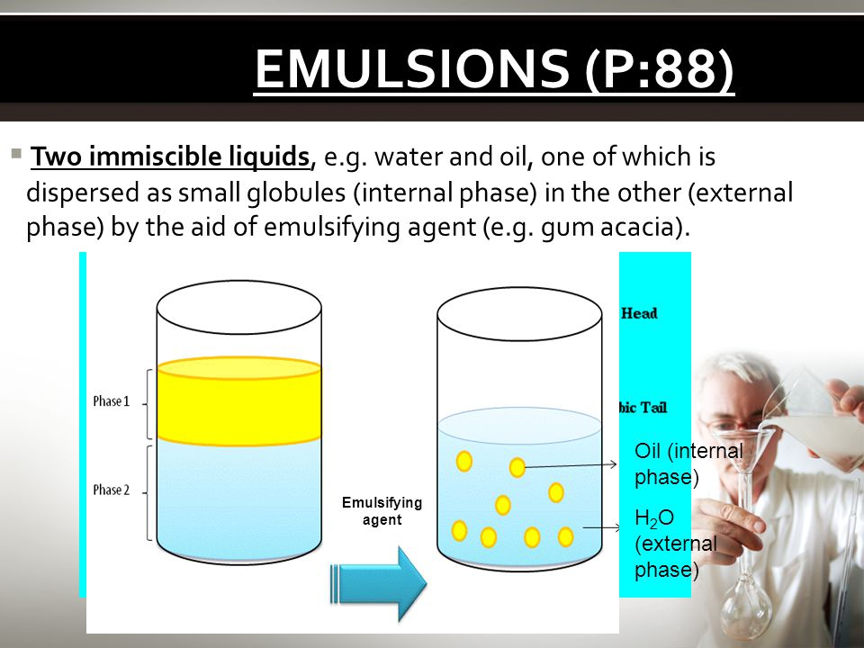 EMULSIONS (P:88) Two immiscible liquids, e.g. water and oil, one of which is. dispersed as small globules (internal phase) in the other (external.