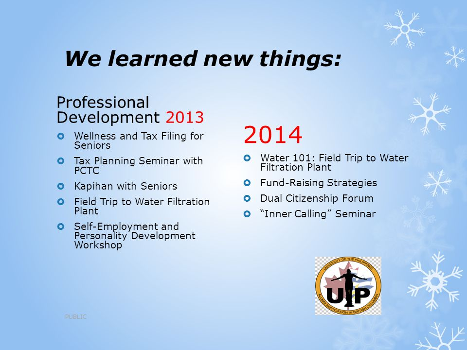 2014 We learned new things: Professional Development 2013