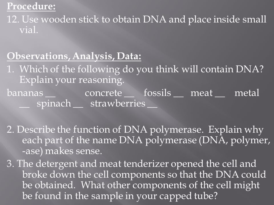Procedure: 12. Use wooden stick to obtain DNA and place inside small vial. Observations, Analysis, Data:
