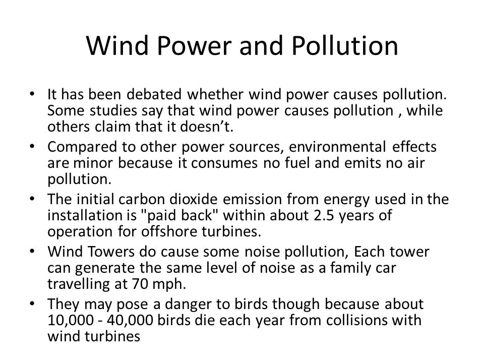 Wind Power and Pollution