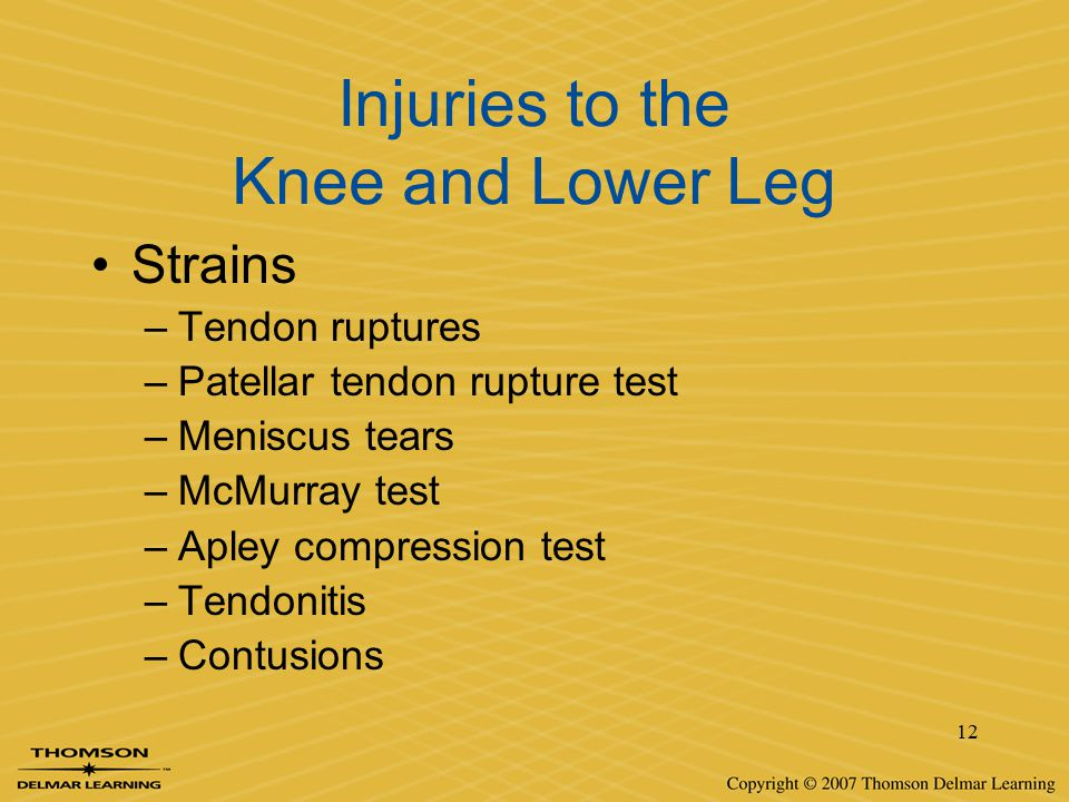 Injuries to the Knee and Lower Leg