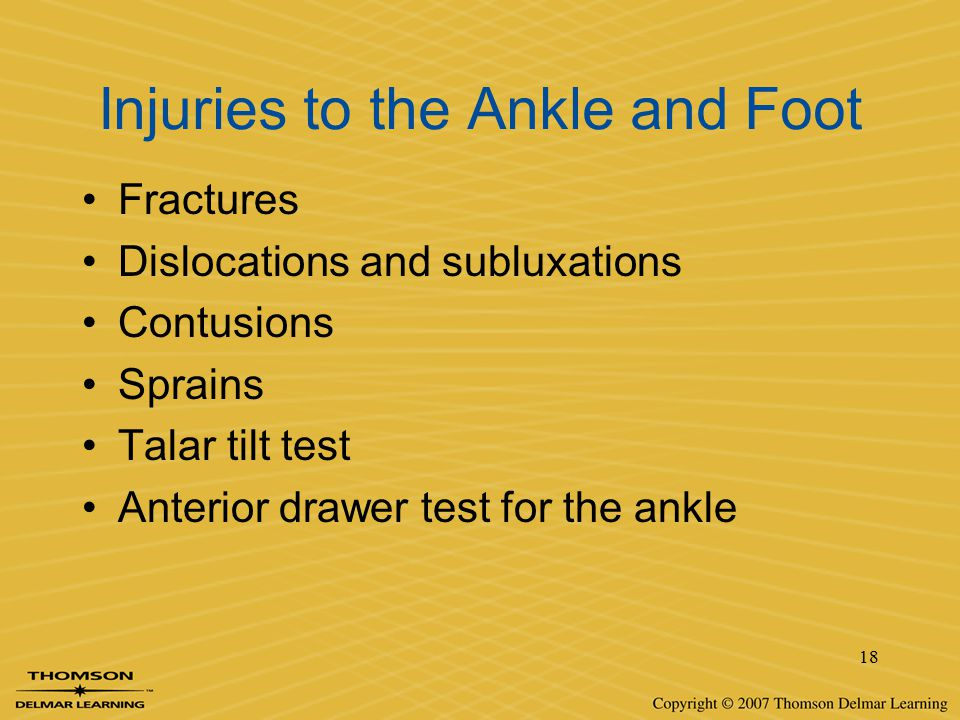 Injuries to the Ankle and Foot