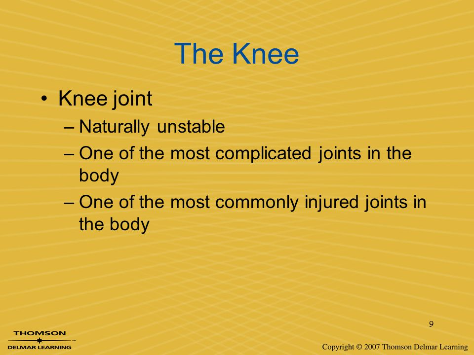 The Knee Knee joint Naturally unstable