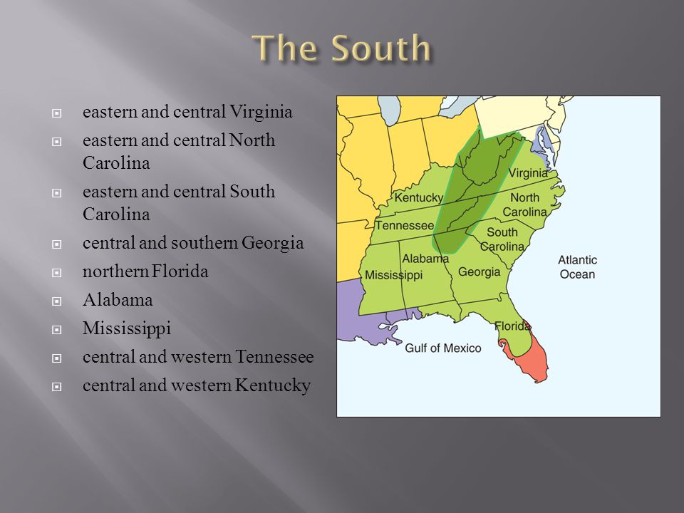 The South eastern and central Virginia