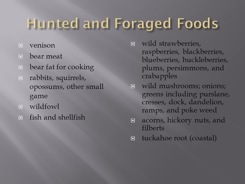 Hunted and Foraged Foods