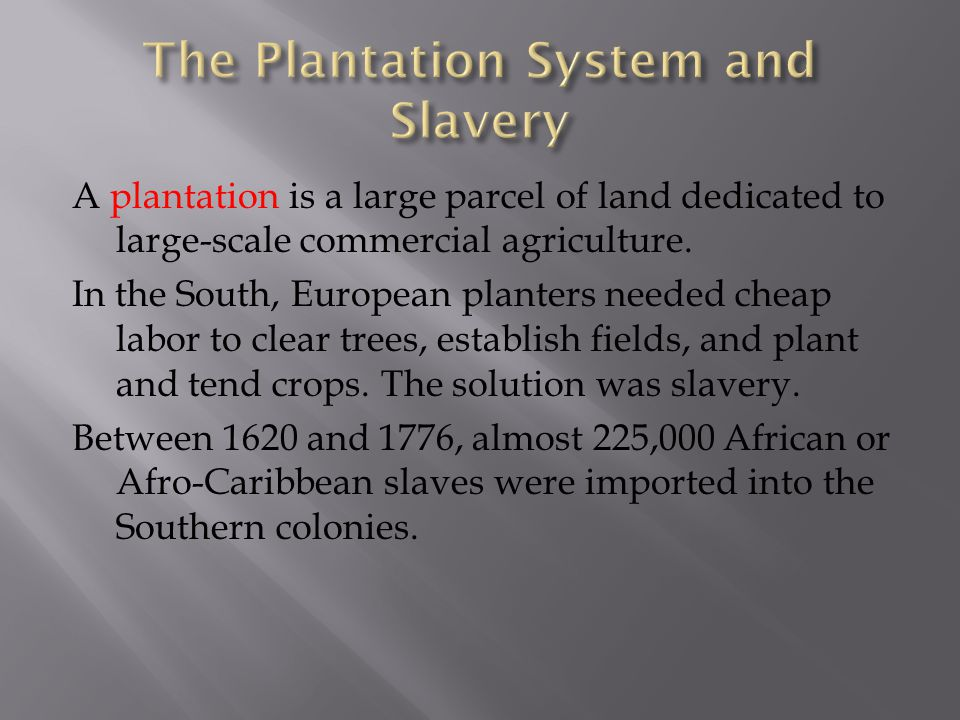 The Plantation System and Slavery