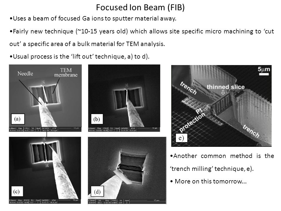Focused Ion Beam (FIB) •Uses a beam of focused Ga ions to sputter material away.