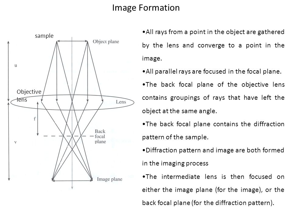 Image Formation •All rays from a point in the object are gathered by the lens and converge to a point in the image.
