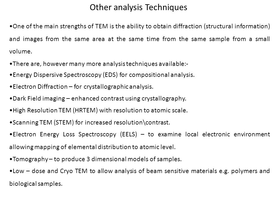 Other analysis Techniques