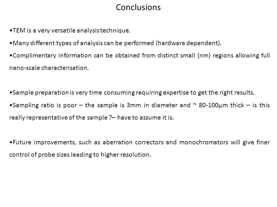 Conclusions •TEM is a very versatile analysis technique.