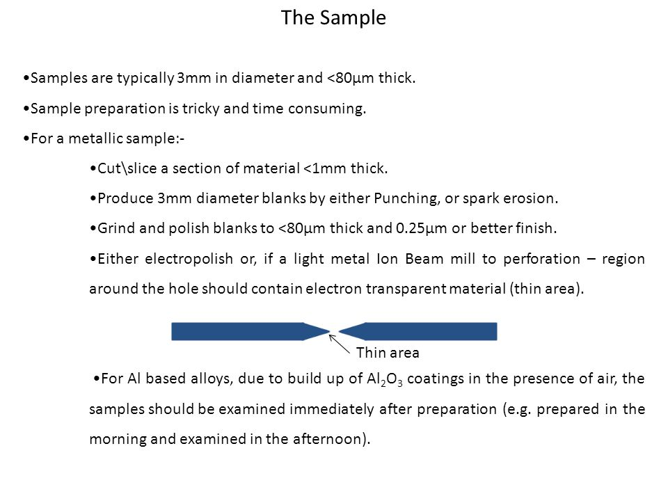 The Sample •Samples are typically 3mm in diameter and <80µm thick.
