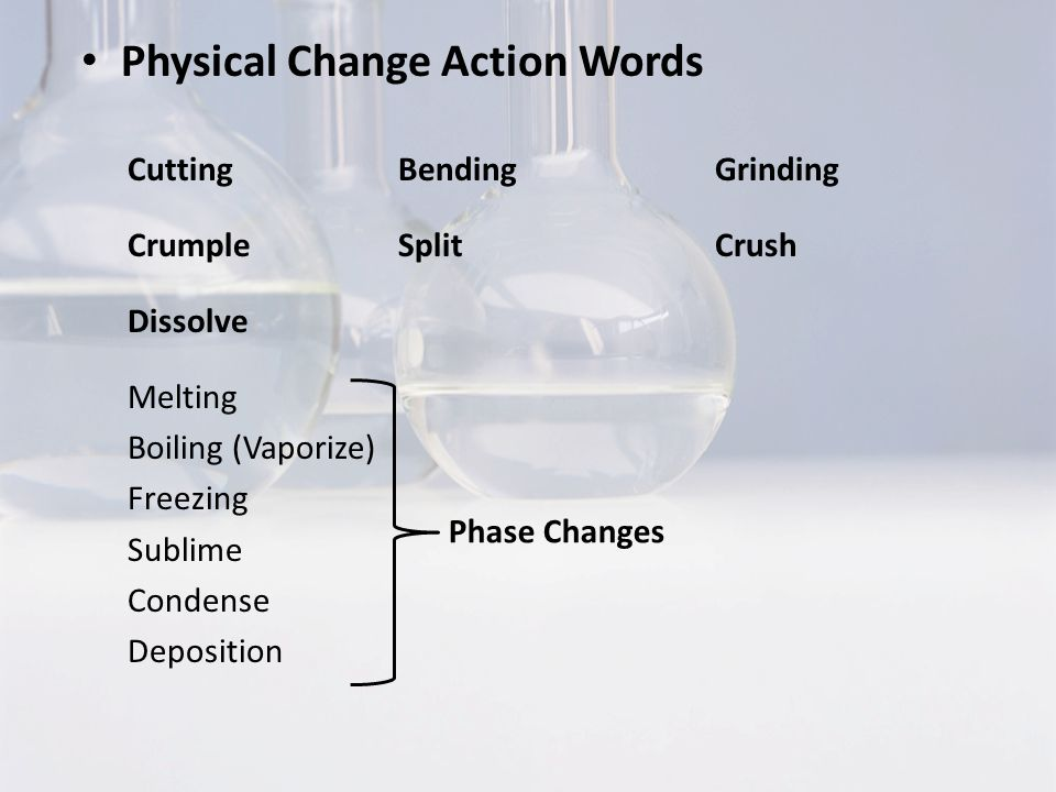 Physical Change Action Words