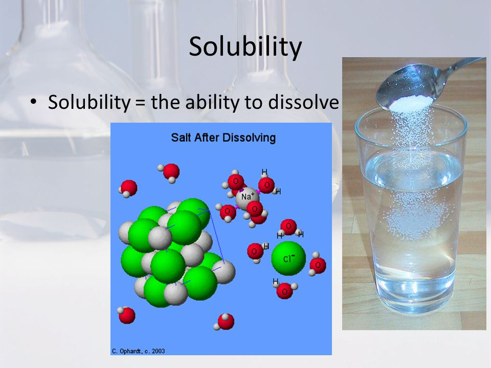 Solubility Solubility = the ability to dissolve