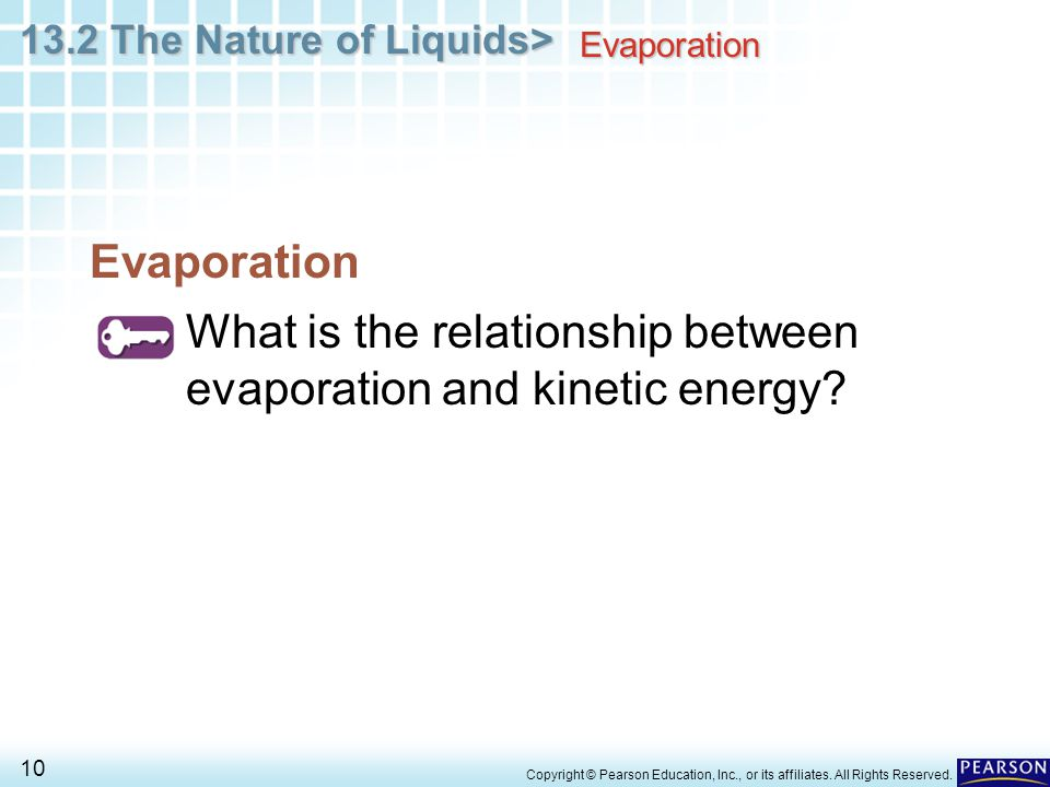 What is the relationship between evaporation and kinetic energy