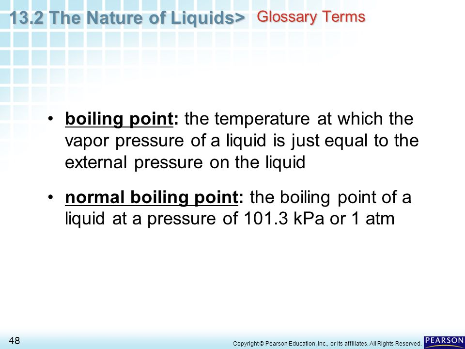 Glossary Terms boiling point: the temperature at which the vapor pressure of a liquid is just equal to the external pressure on the liquid.