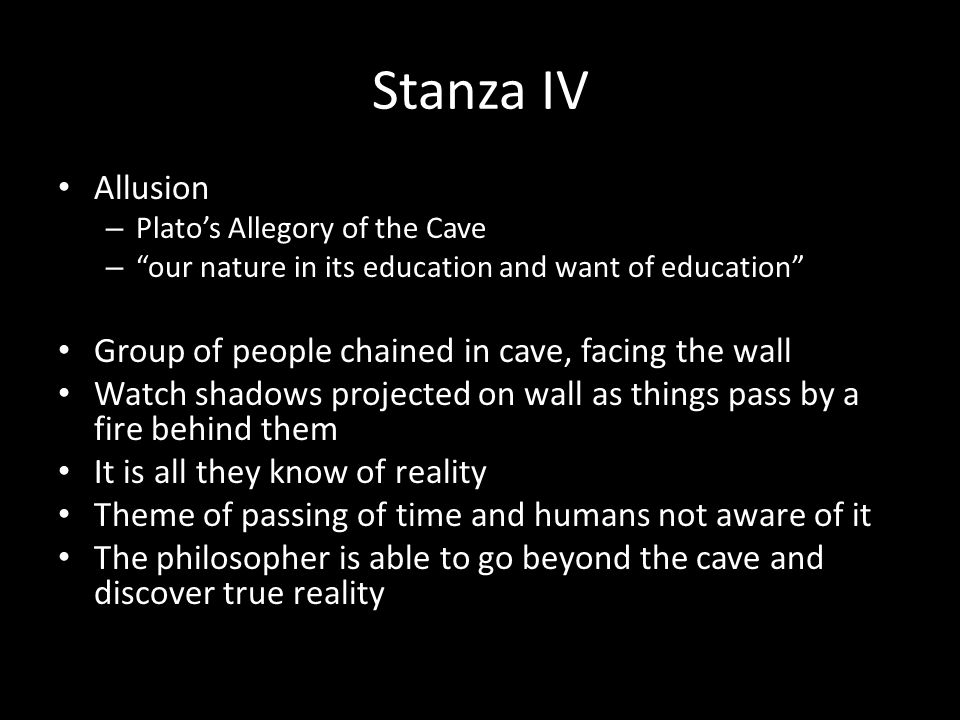 Stanza IV Allusion Group of people chained in cave, facing the wall