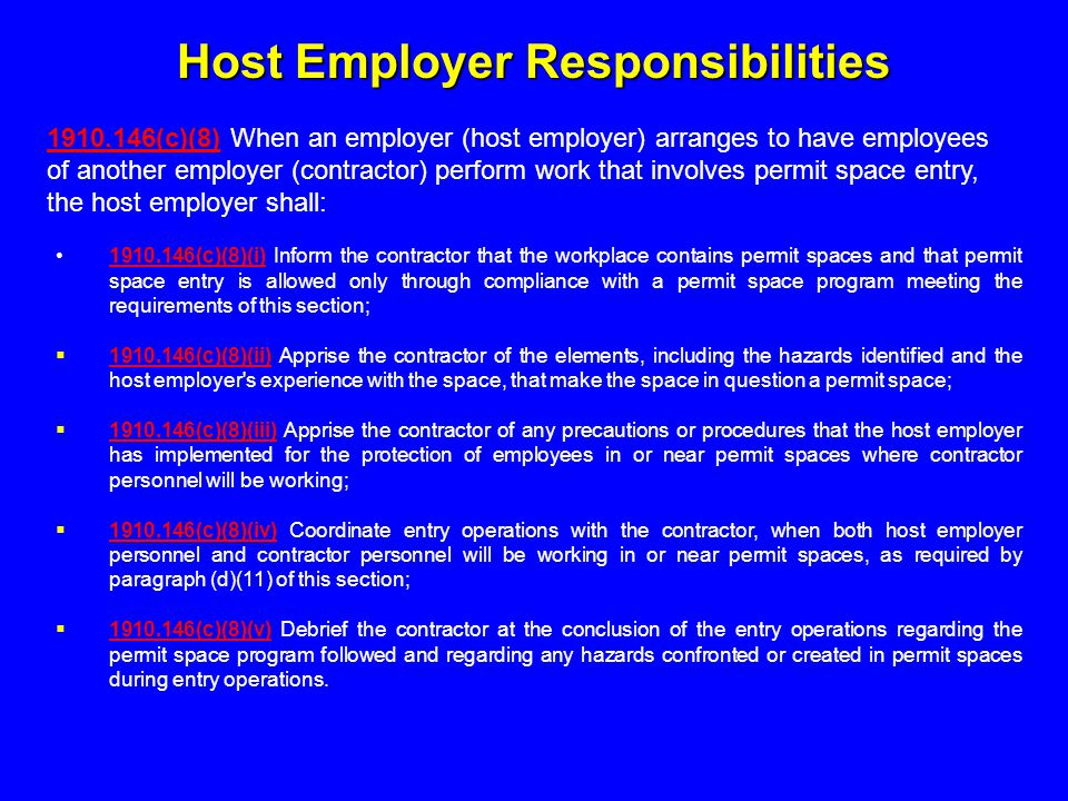 Host Employer Responsibilities